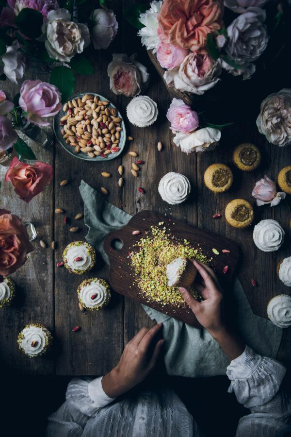 Rose Cupcakes with Pistachio Buttercream