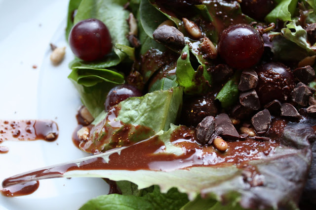Spring Salad with Dark Chocolate Cardamom Dressing