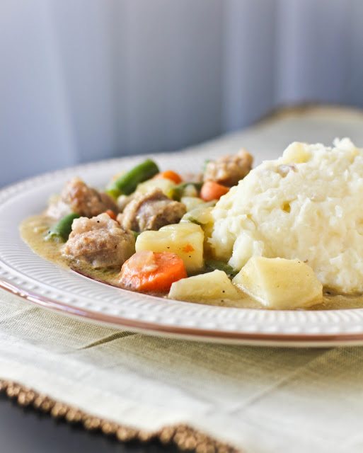 Banger Stew with Red Mashed Potatoes