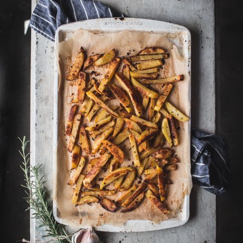 baked, garlic, rosemary, french, fries, potatoes, healthy