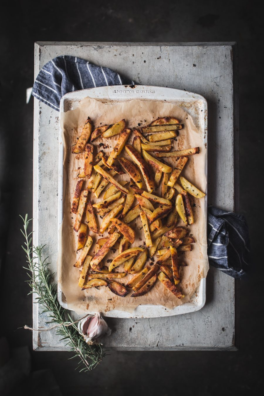 baked, garlic, rosemary, french, fries, potatoes, healthy