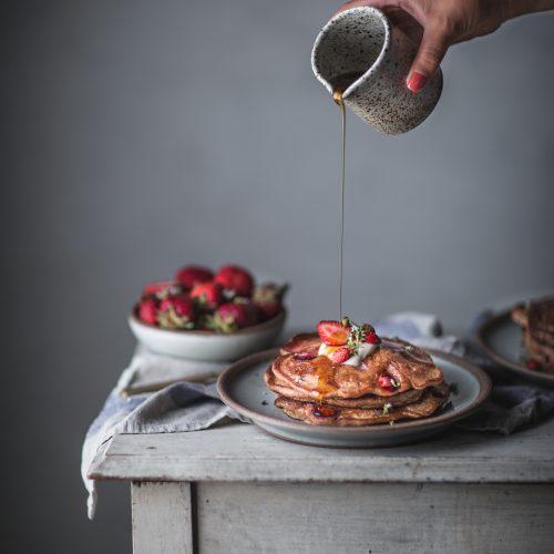 whole, wheat, strawberry, pancakes, honey, mascarpone, maple