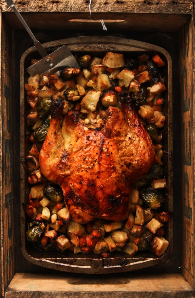 Roast Chicken with Winter Vegetables & a Pine Nut Stuffing