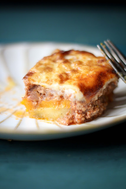 Mousaka with Butternut Squash and Sweet Potatoes