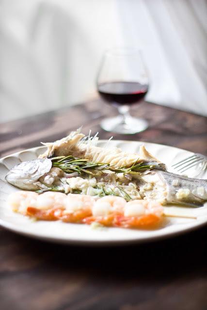 Broiled Trout with Blood Orange Olive Oil & Shrimp Skewers