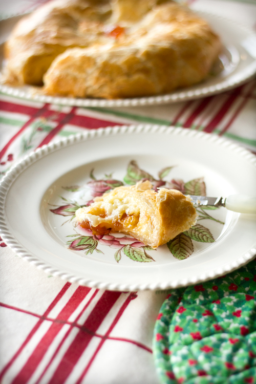 Baked Brie in Puff Pastry Crust with an Apricot Brown Sugar Filling