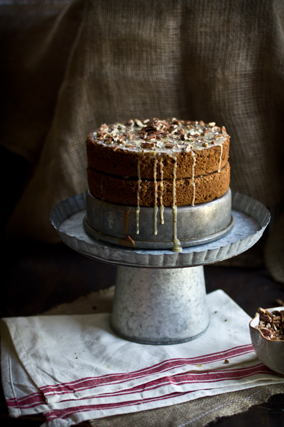 Squirrel Cake (aka Hazelnut Buttermilk Cake with a Maple Pecan Glaze)