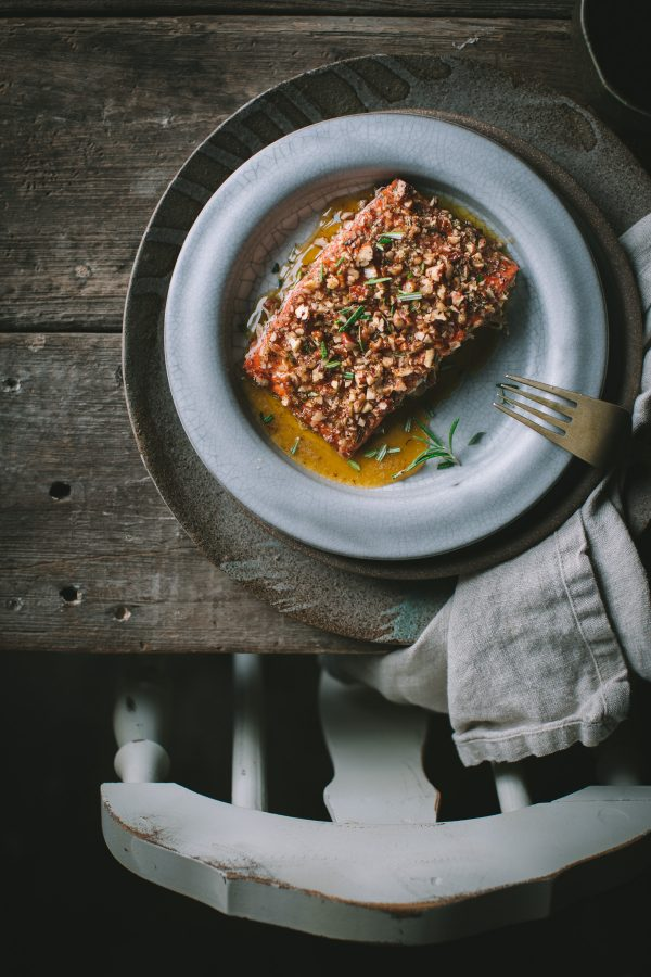 Baked Salmon with a Walnut and Rosemary Crust