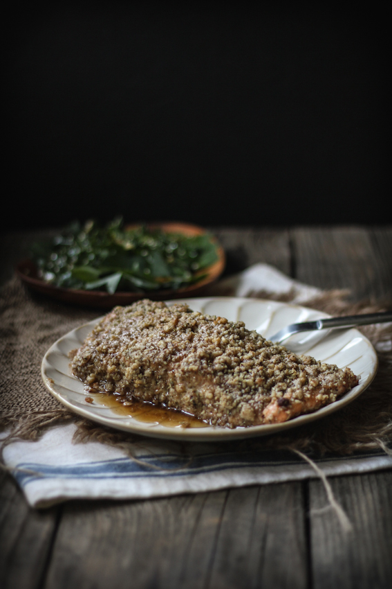 Baked Walnut & Rosemary Encrusted Salmon with a Sesame Ginger Kale & Quinoa Leaf Salad