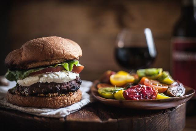 Red Wine Burgers with Mushrooms, Goat Cheese, & a Tomato Salad