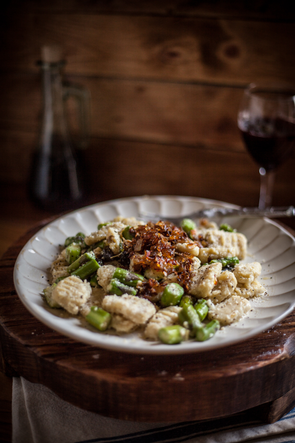 Toasted Sage Gnocchi with Sautéed Asparagus & Caramelized Shallots