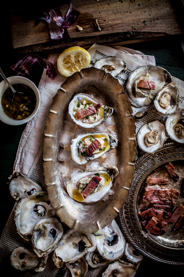 Grilled Oysters on the Half Shell with Grilled Proscuitto & Mignonette, Plus a Live Fire Cookbook Giveaway!