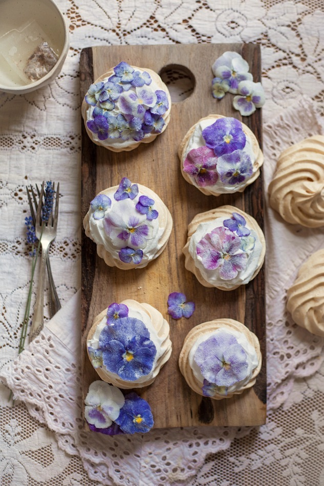 An Edible Flower Collaboration with Luna Moss: Creamed Honey & Rose Popsicles, The Cornflower Kickback, & Candied Pansy & Viola Mini Pavlovas