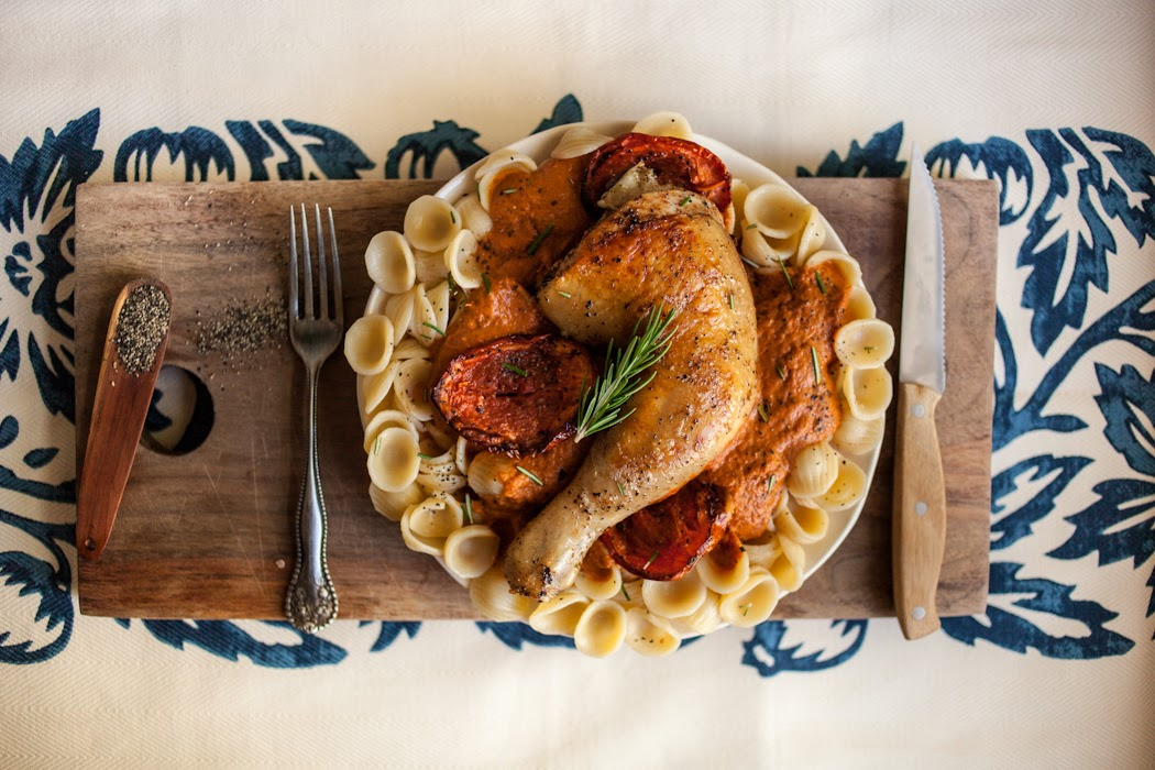Homemade Orecchiette With A Roasted Tomato Red Wine Sauce & Herbed Pan-Fried Chicken