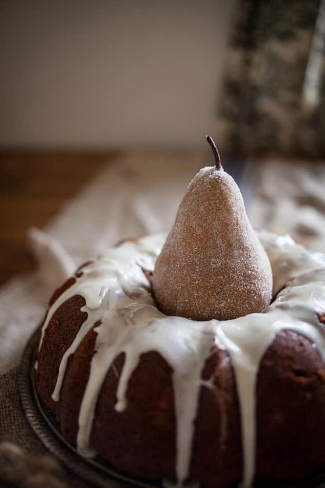 Spiced Pear Bundt Cake with Vanilla Glaze