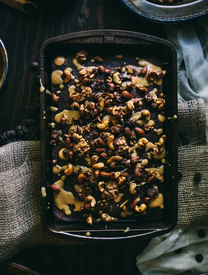 Chocolate Sheet Cake With Toasted Nuts & Salted Dulce De Leche