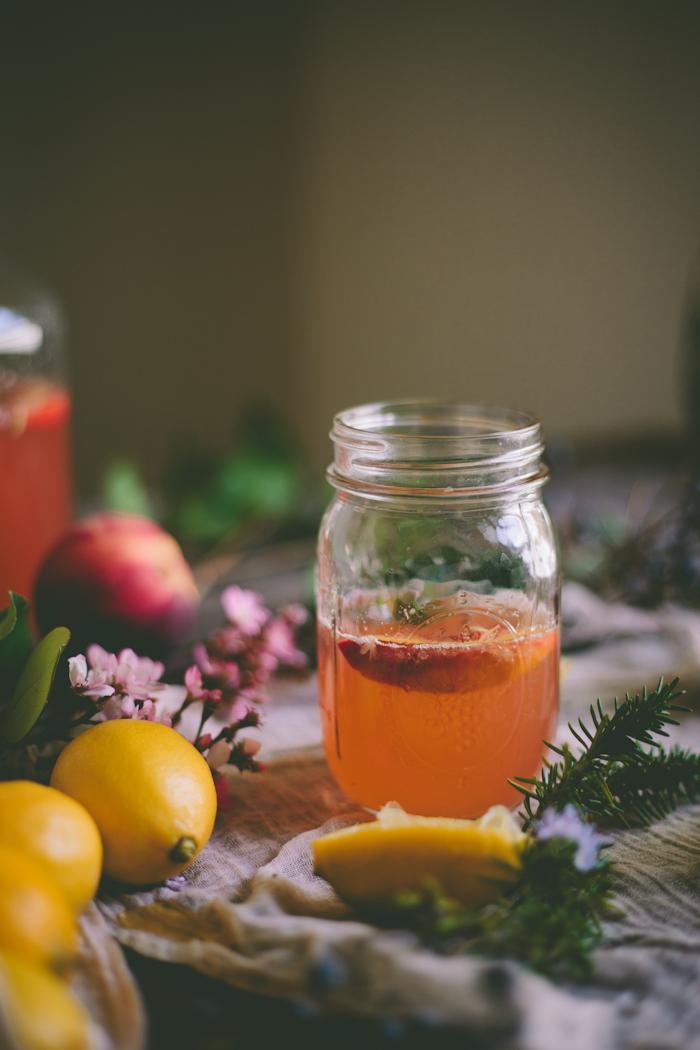 Peach & Rosemary Blossom Lemonade