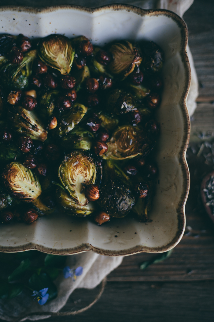 Roasted Brussel Sprouts with Toasted Hazelnuts & Lavender