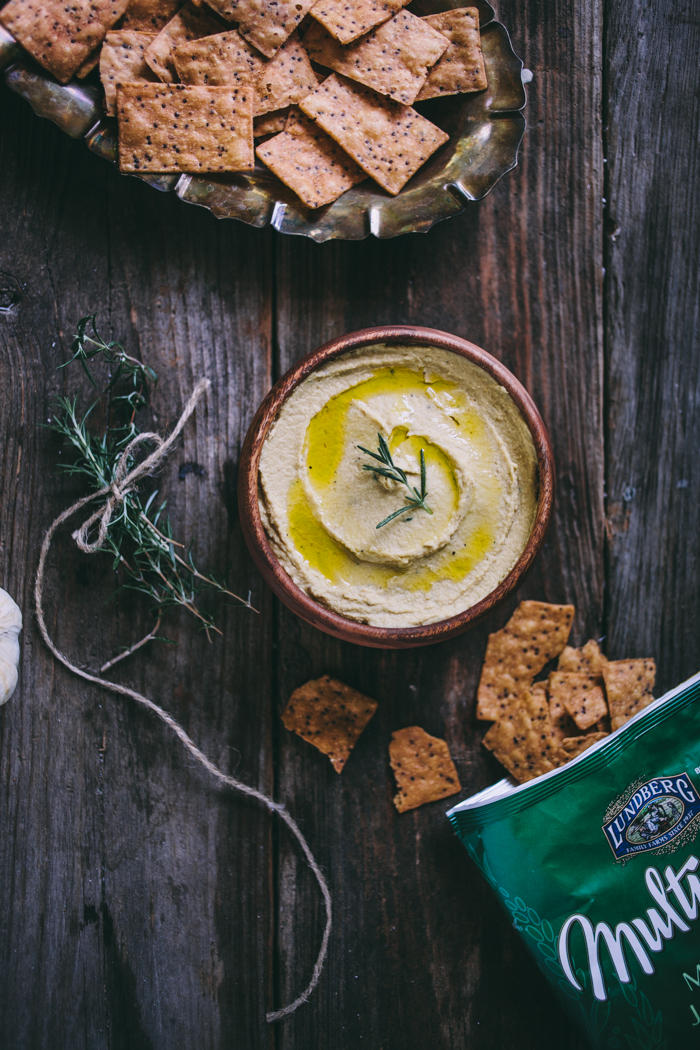 Garlic & Rosemary Hummus + Lundberg Farms