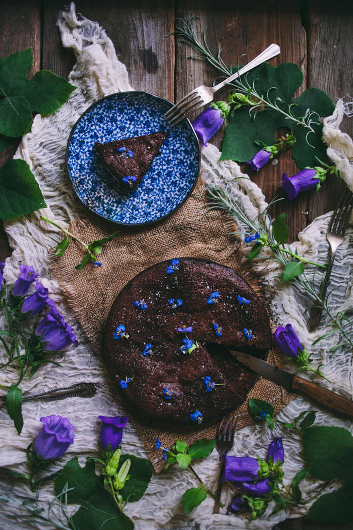 Salted Almond Flourless Chocolate Cake With Violets + A Giveaway