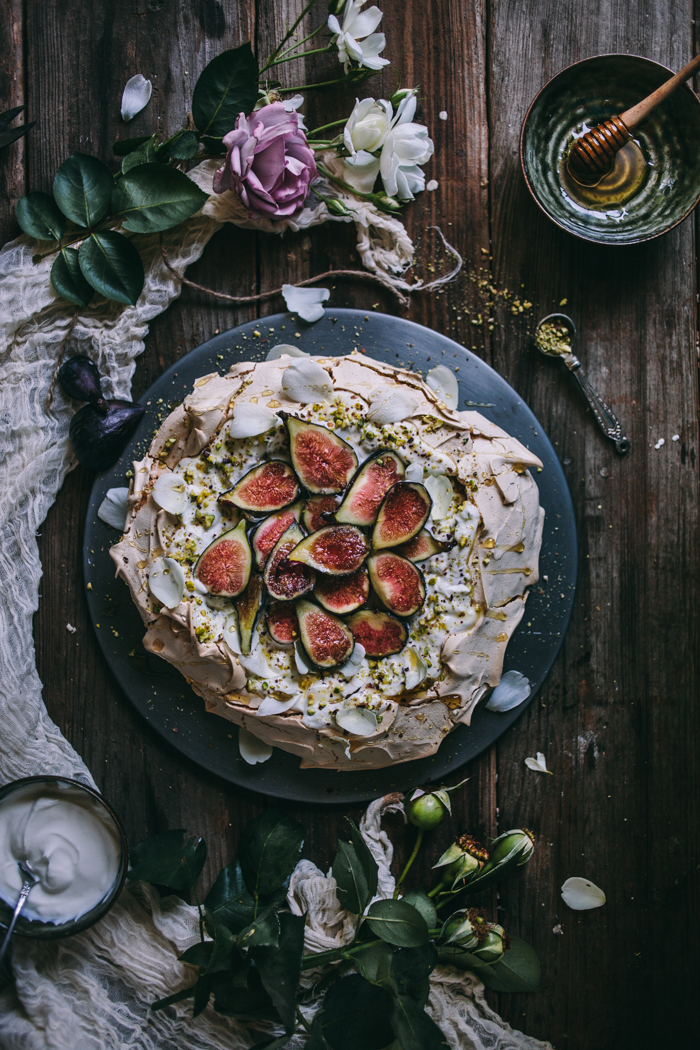 Pistachio and Rose Water Pavlova with Greek Yogurt, Honey, and Figs + A Giveaway