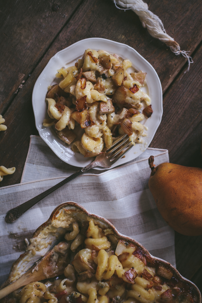 Bacon, Pear, & Blue Cheese Macaroni with Caramelized Onions
