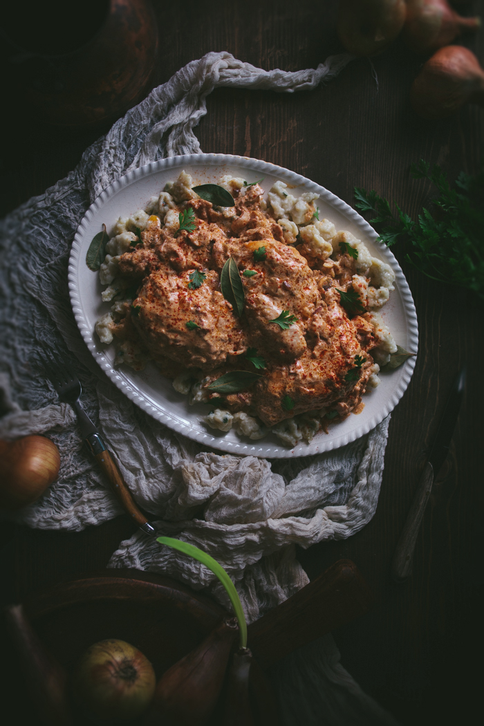 Braised Chicken With Hot Hungarian Paprika & Homemade Spatzle