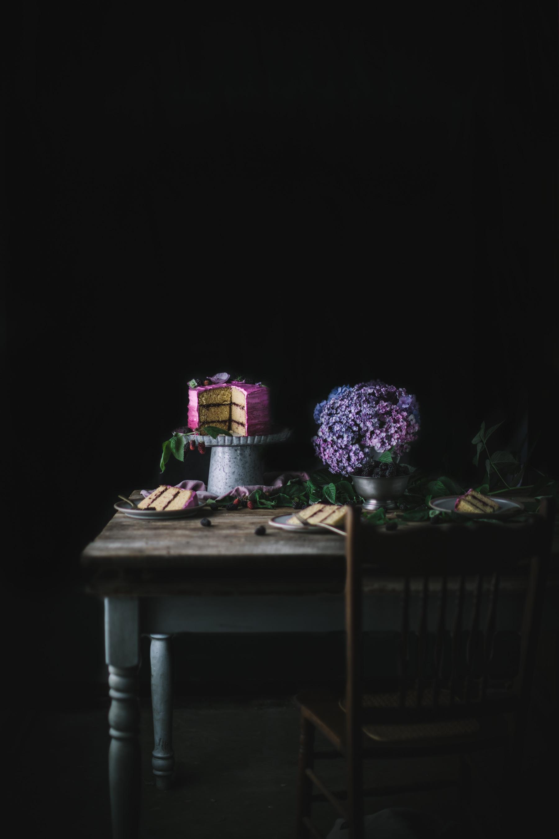 Rosemary Honey Cake With Blackberry Buttercream