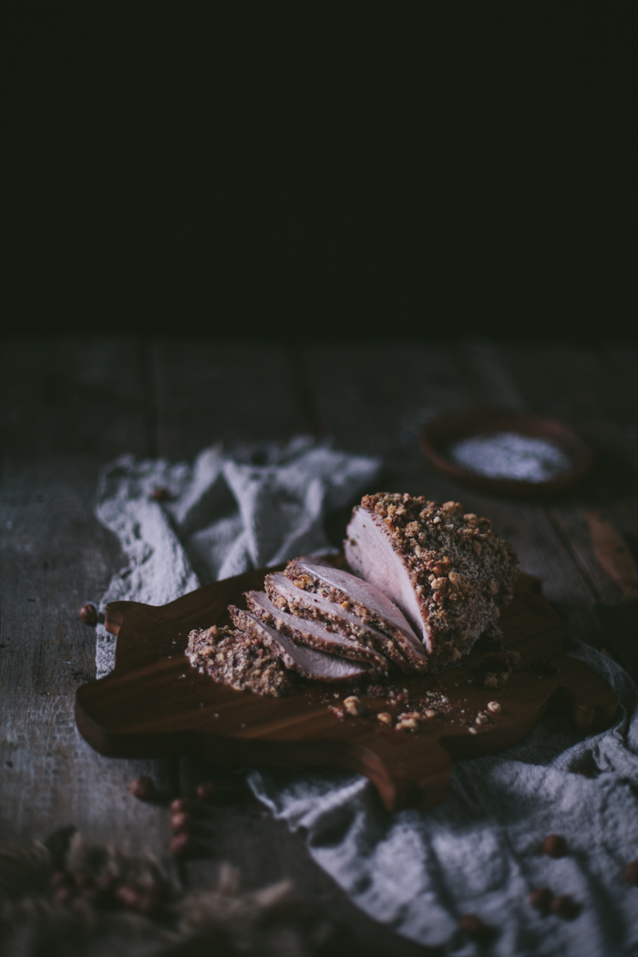 Maple & Hazelnut Encrusted Pork Sirloin Tip Roast by Eva Kosmas Flores | Adventures in Cooking