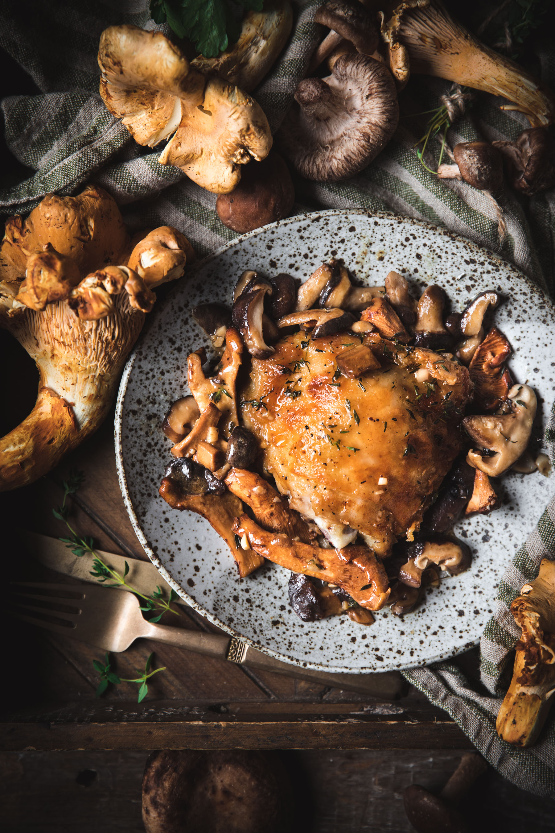 Braised Chicken with Mushrooms and White Wine