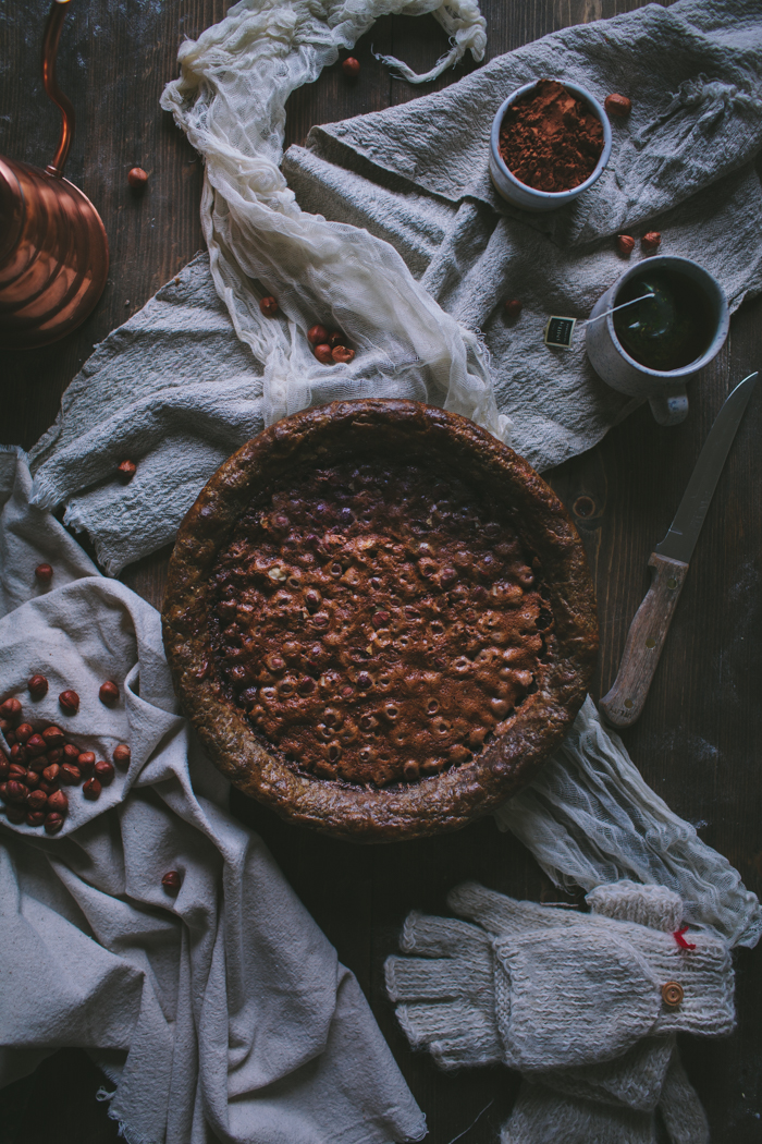 Hazelnut Chocolate Chess Pie With A Buckwheat Crust