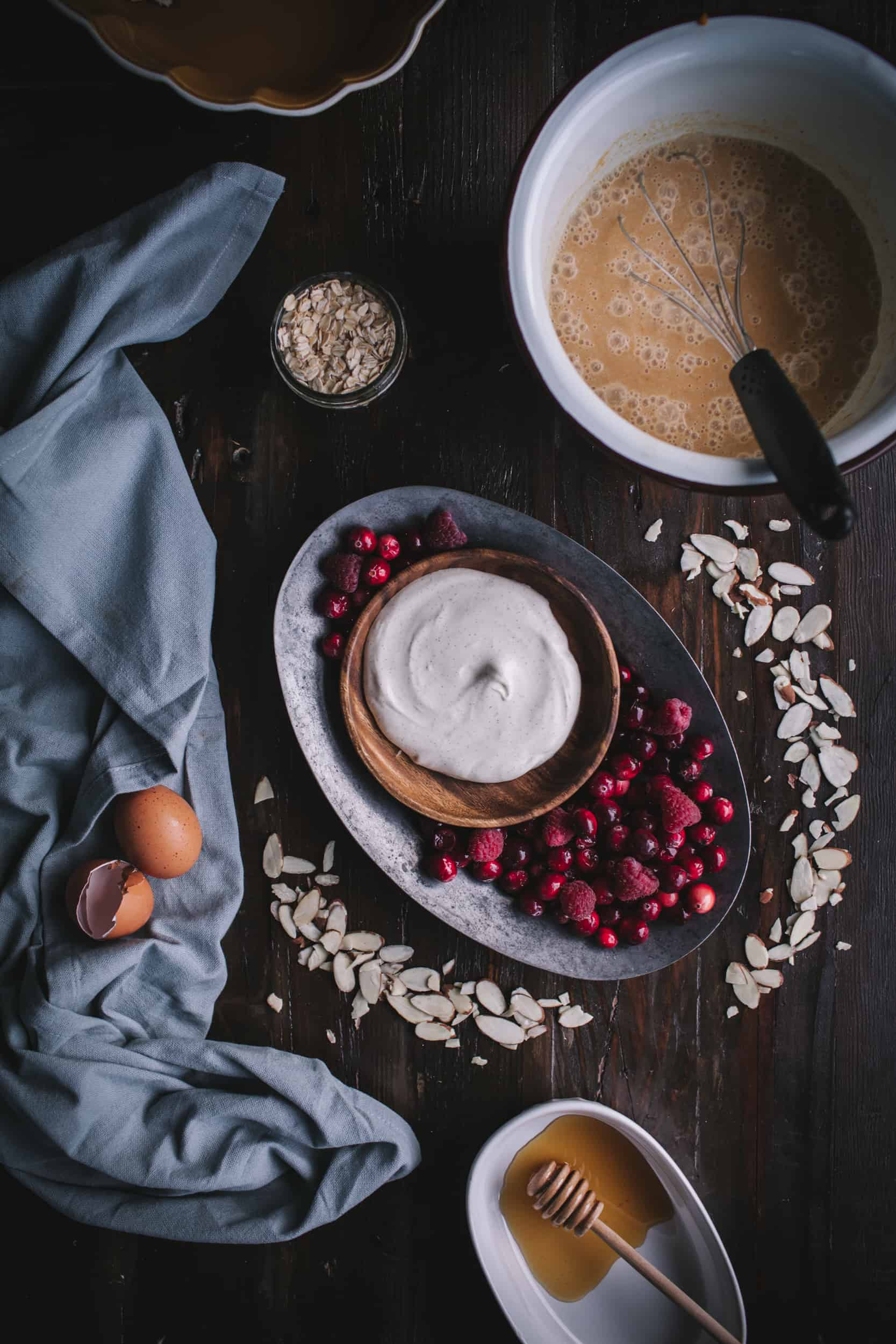 Baked Pumpkin, Cranberry, & Raspberry Oatmeal With Vanilla Creme Fraiche by Eva Kosmas Flores