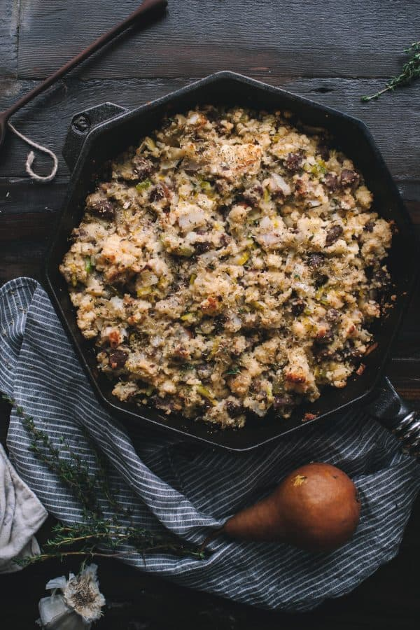 Cast Iron Cornbread Stuffing with Leeks Sausage and Pears by Eva Kosmas Flores
