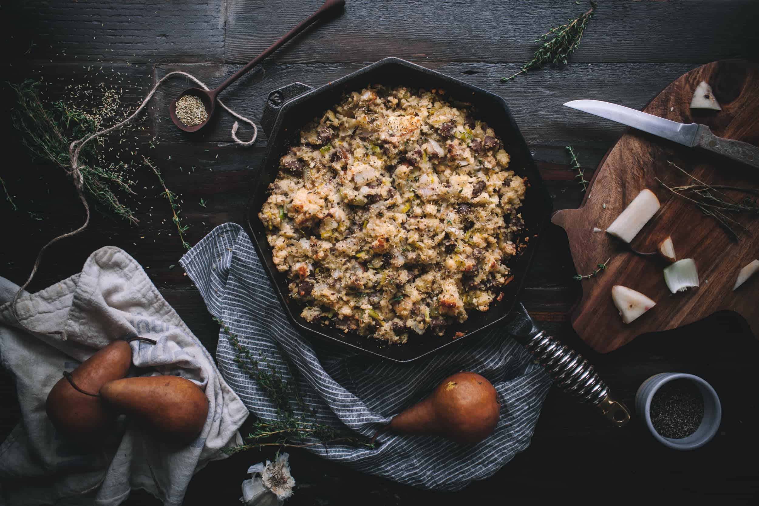 Cornbread Stuffing With Leeks, Sausage, & Pears