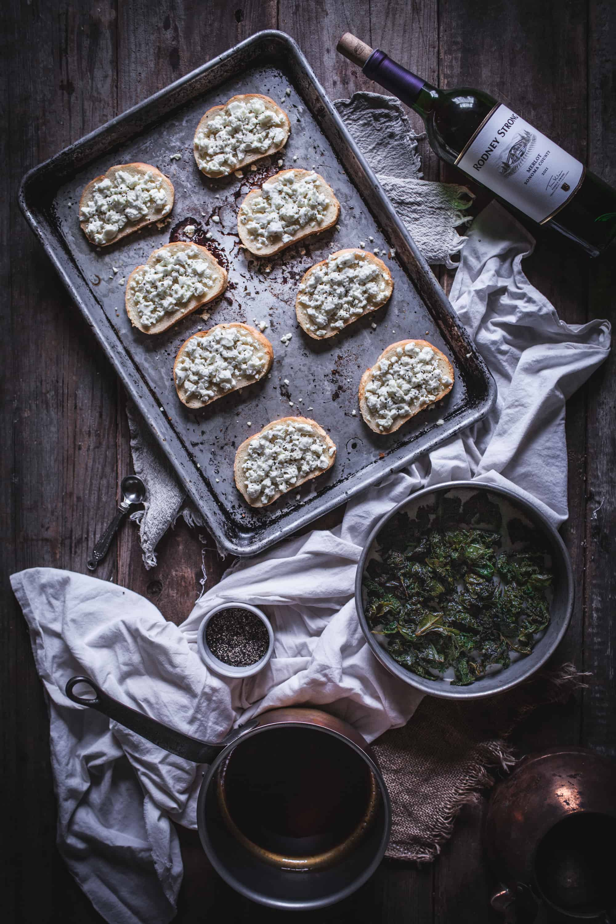 Sautéed Kale and Goat Cheese Crostini with a Balsamic Reduction by Eva Kosmas Flores