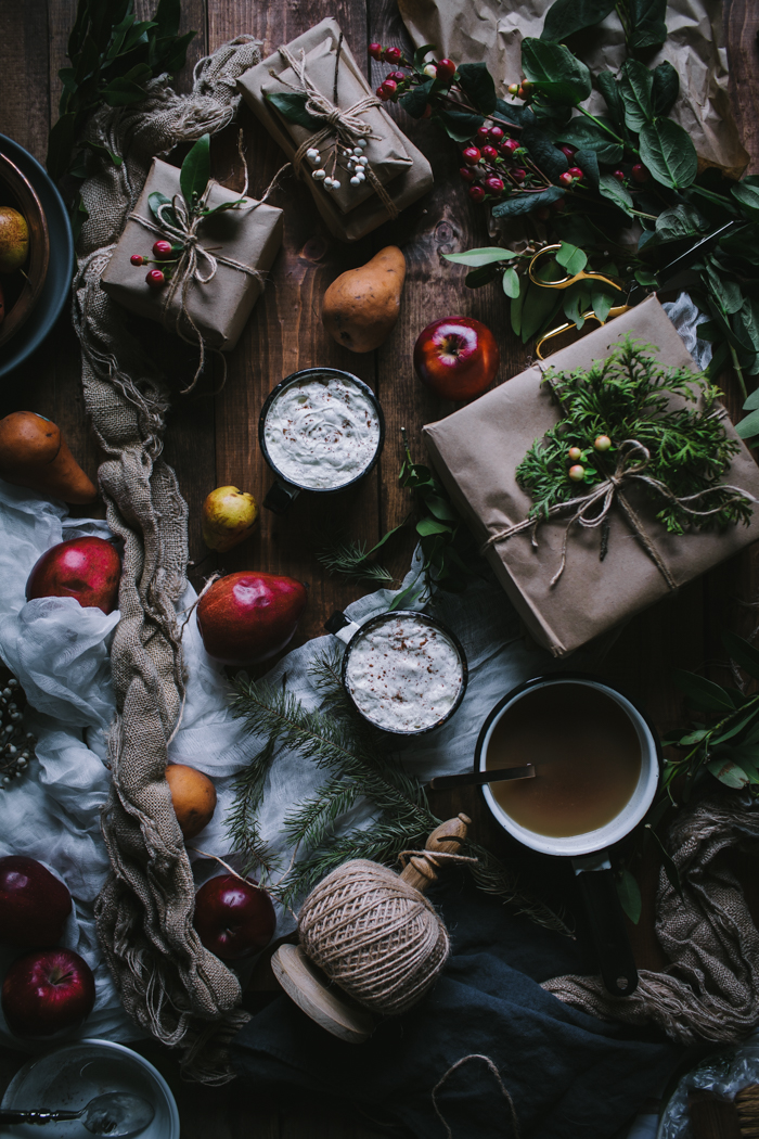 Apple Pear & Brandy Cider + DIY Winter Bay & Rosemary Wreath