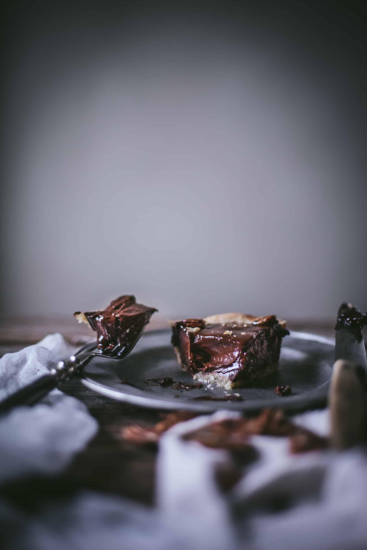 Cast Iron Deep Dish Chocolate Pecan Tart by Eva Kosmas Flores of Adventures in Cooking