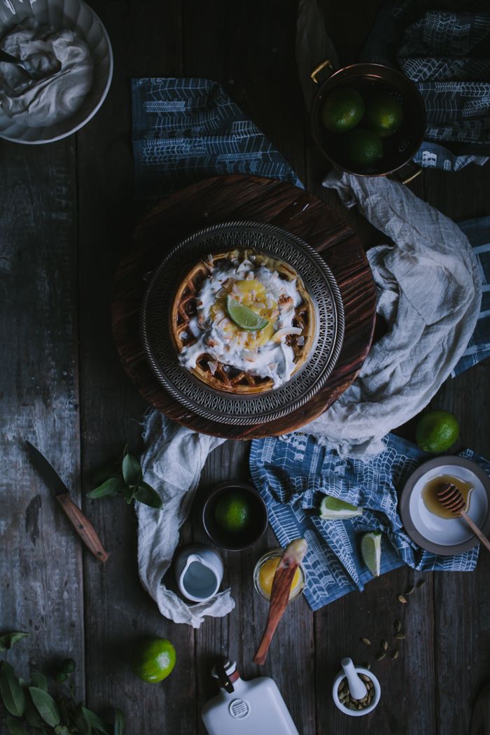 Coconut Waffles with Lime Curd & Cardamom Whipped Cream + A Nell & Mary Giveaway