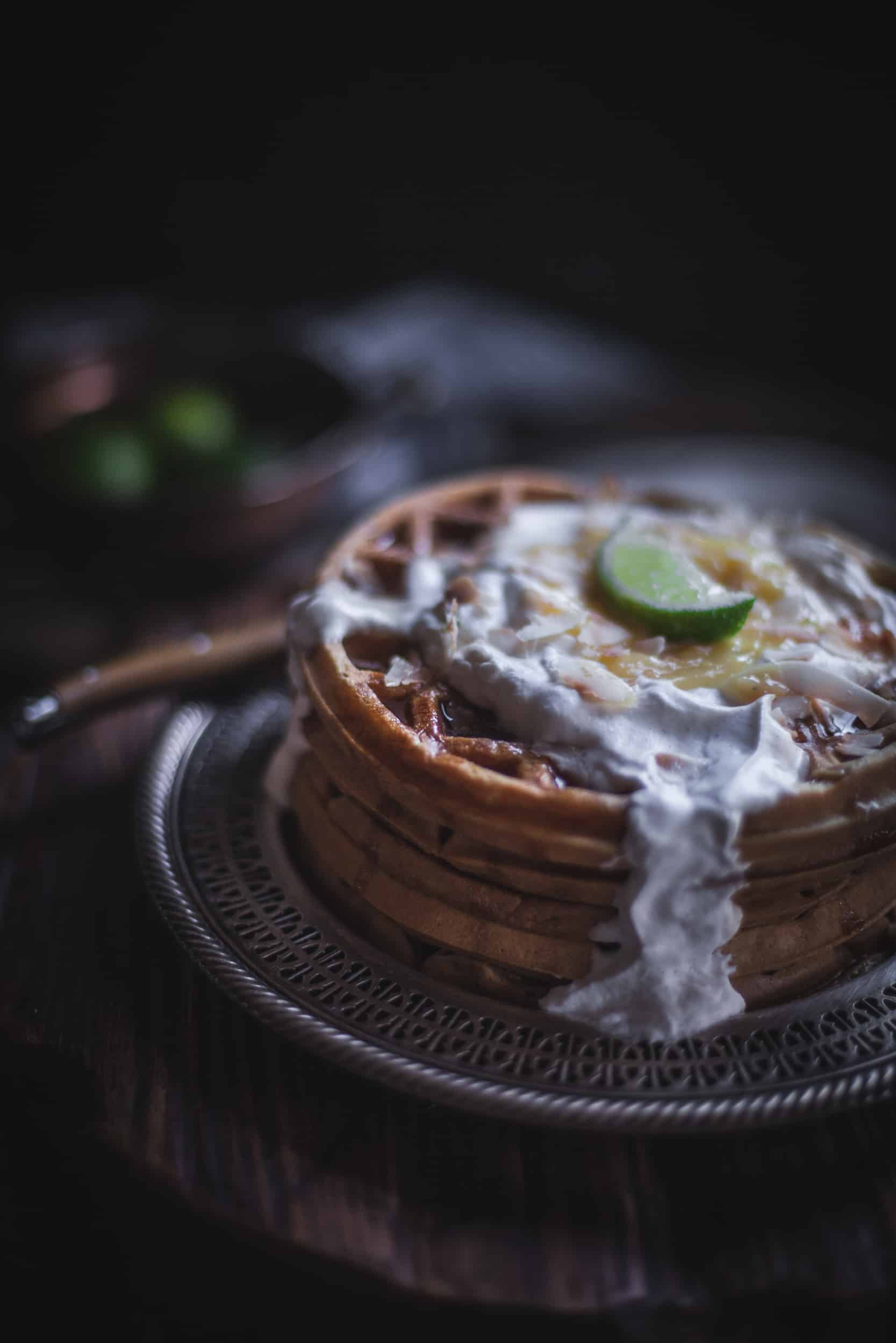 Coconut Waffles with Lime Curd & Cardamom Whipped Cream by Eva Kosmas Flores