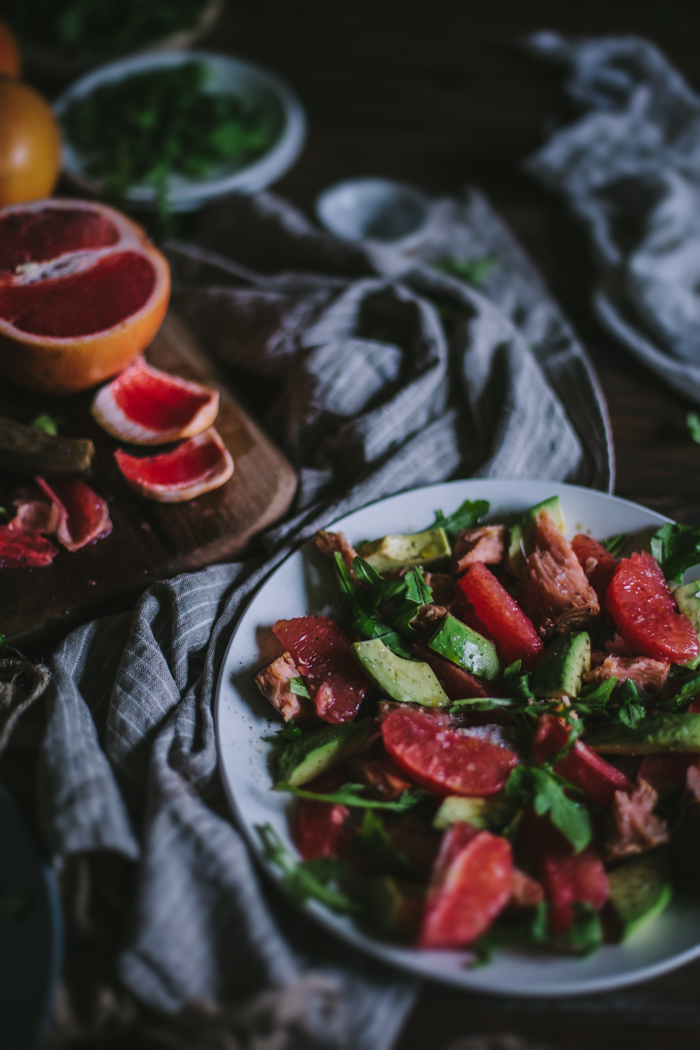 Grapefruit, Salmon, & Avocado Salad + A Giveaway by Eva Kosmas Flores | Adventures in Cooking