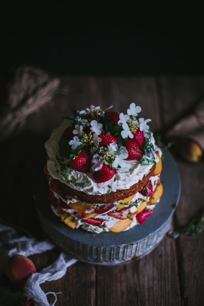 Strawberry, Thyme, & Peach Buttermilk Cake with Mascarpone Whipped Cream