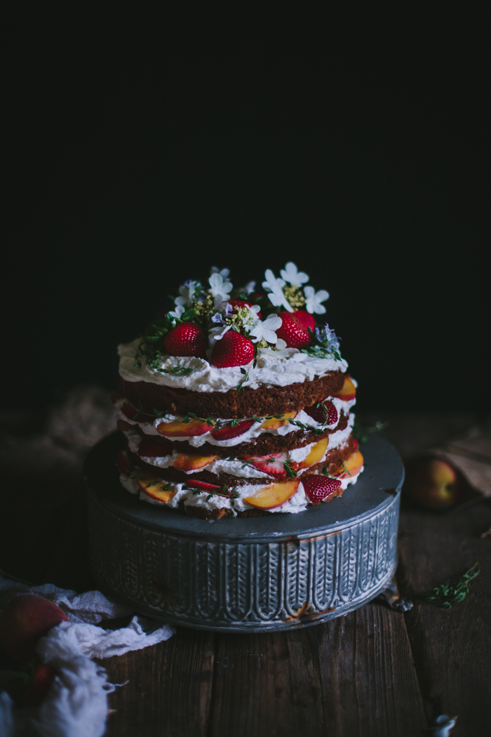 Peach, Strawberry, & Buttermilk Cake by Eva Kosmas Flores | Adventures in Cooking