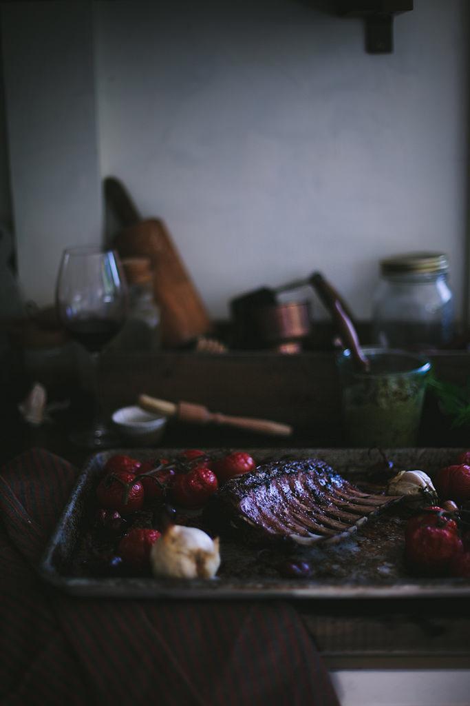 Cabernet Rack of Lamb with a Mint, Pistachio, & Fennel Pesto by Eva Kosmas Flores