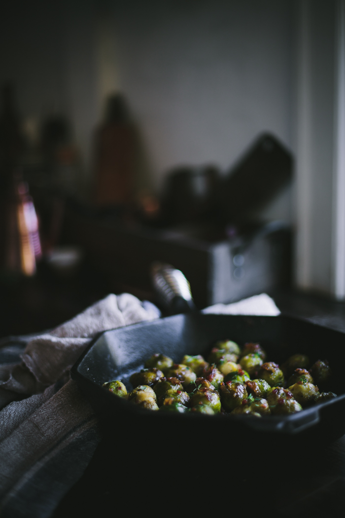 Sautéed Sherry Brussels Sprouts with Bacon, Caramelized Onions, & Fresh Thyme + A Date Night Giveaway