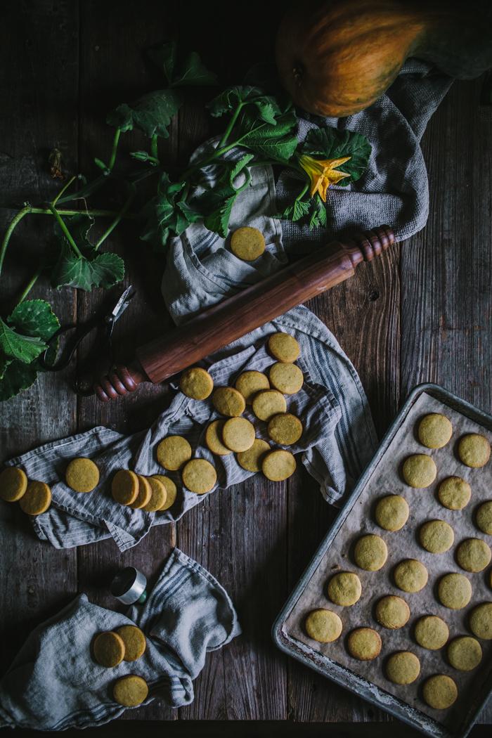 Pumpkin Shortbread Cookies by Eva Kosmas Flores | Adventures in Cooking