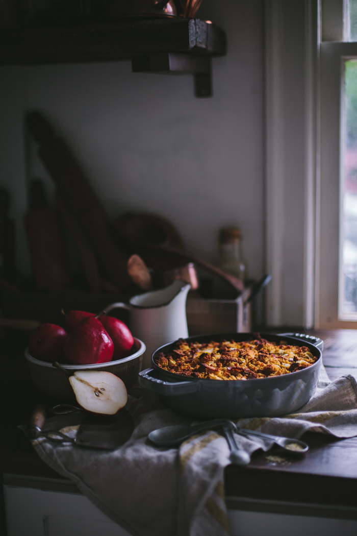 Pumpkin Cornbread Stuffing with Bacon and Dates
