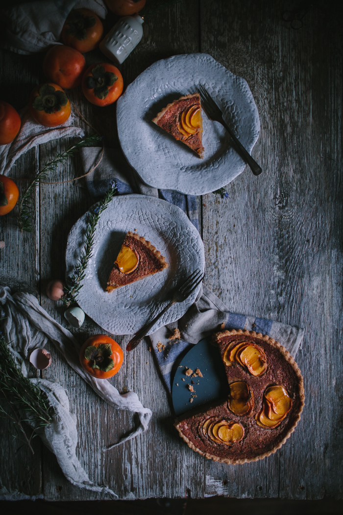 Spiced Persimmon and Crème Fraîche Custard Tart