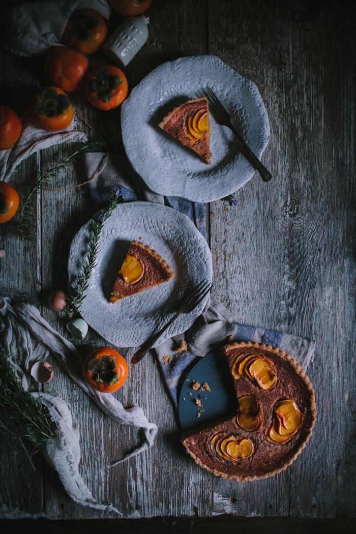 Spiced Persimmon & Creme Fraiche Custard Tart