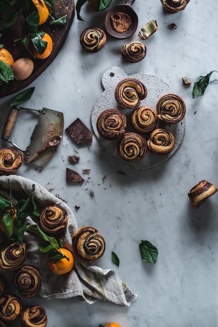 Citrus and Chocolate Brioche Buns