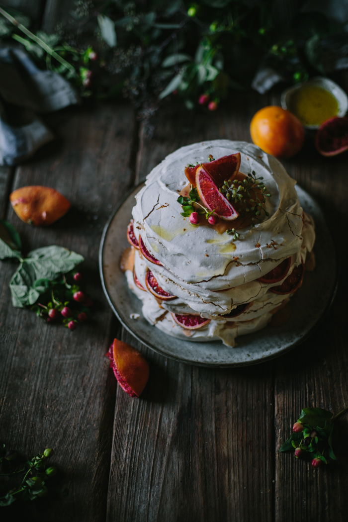 Meringue Stack with Blood Orange Olive Oil Curd